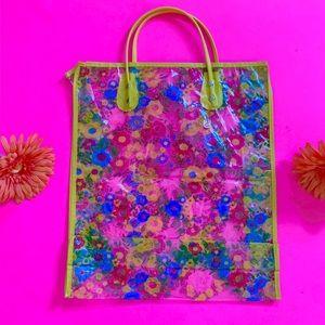 Vintage Bags - Vintage 60s 70s clear vinyl flower power bag NOS